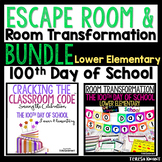 100th Day of School Room Transformation and Escape Room Bundle Lower Elementary