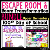 100th Day of School Room Transformation and Escape Room Bundle Upper Elementary