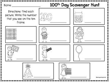100th Day of School Scavenger Hunt