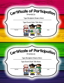 100th Day of School Shirt Contest Participant Certificate