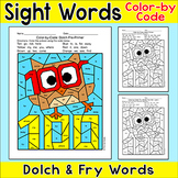 100th Day of School Activities Color by Sight Words