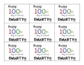 100th Day of School Smarty Tag