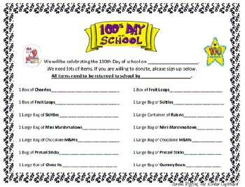 100th Day of School { Snack FREEBIE Letter}