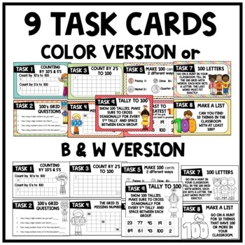 100th Day of School Solve the Mystery Math & ELA Task Card Activity 1st Grade