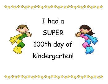 100th Day of School Super Hero Certificates - Kindergarten