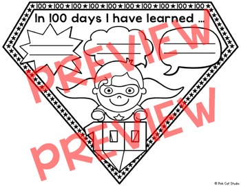 100th Day of School Activities - Superhero Pennants Editable for any Language