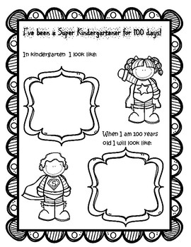 100th Day of School Superhero coloring sheets and activity page