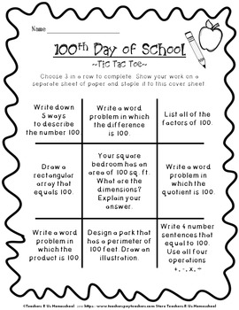 100th Day of School: Tic Tac Toe Math
