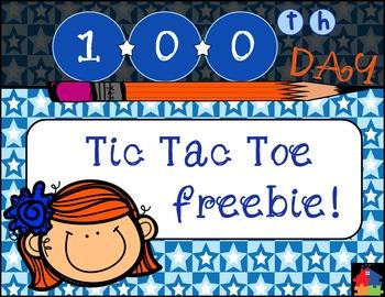 100th Day of School: Tic Tac Toe Math