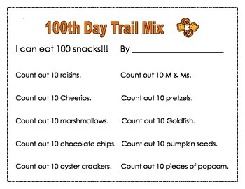 100th Day of School Trail Mix Snack and Activity