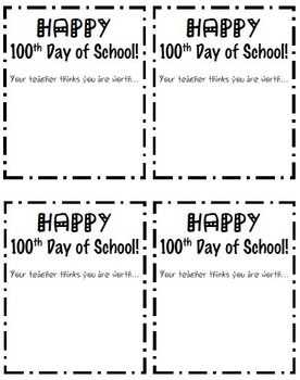 100th Day of School Treat Cards