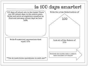 100th Day of School Upper Grades Activity