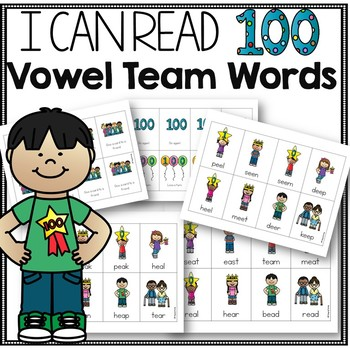 100th Day of School Phonics Reading Game for Vowel Team Fluency