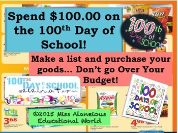 100th Day of School With $100.00 to Spend!