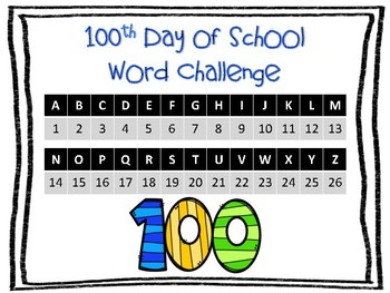 100th Day of School Word Challenge