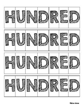 """100th Day of School Word Scramble with """"Hundred"""""""