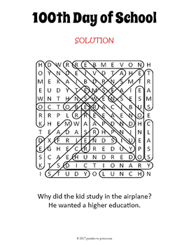 100th Day of School Word Search Puzzle