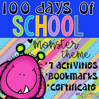 100th Day of School Monster Themed Workbook