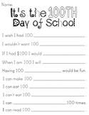 100th Day of School Worksheet