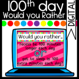100th Day of School: Would you Rather Slides/ Zoom Game/ M