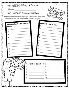 100th Day of School Worksheets for Older Students