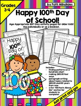 100th Day of School Worksheets for Older Students (Third-F