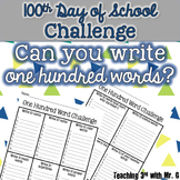 100th Day of School Challenge: Write 100 words freebie! Wr