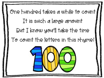 100th Day of School - Write a poem with 100 letters (or a story with 100 words!)
