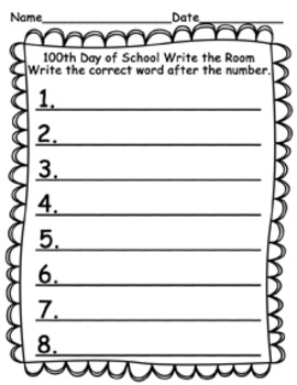 100th Day of School Write the Room