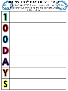 100th Day of School Writing Around the Room Task Cards