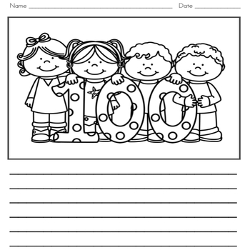 100th Day of School Writing Journal with Word Wall Cards