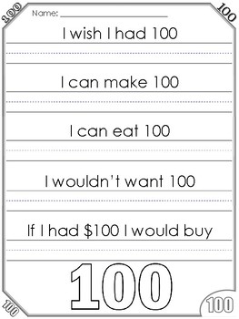 100th Day of School Writing Prompts and Worksheets