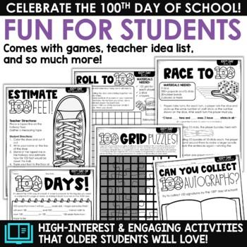 100th Day of School Activities for UPPER GRADES! (Celebrate 100 Days of School)