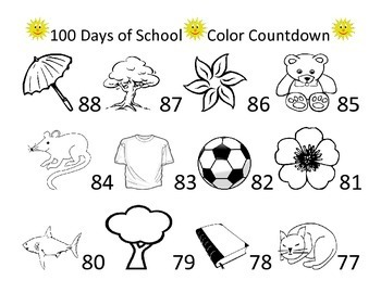 100th Day of School 100 Day Coloring Count Down