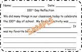 100th Day off School Reflection of activities
