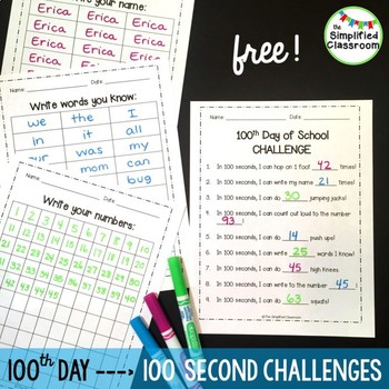 100th and 101st Day of School Challenge {FREEBIE!}