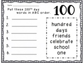 100th day ABC order FREEBIE