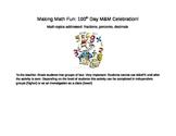100th day fun: M&M math fractions decimals percents