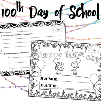 100th day of School Printable Activities