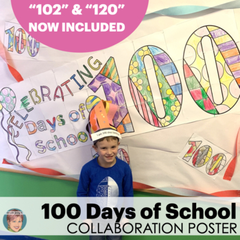 100th Day of School Activity: Collaborative Classroom Banner & Coloring Sheets
