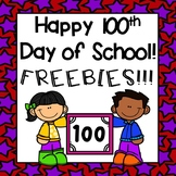 100th day of school- FREEBIES!