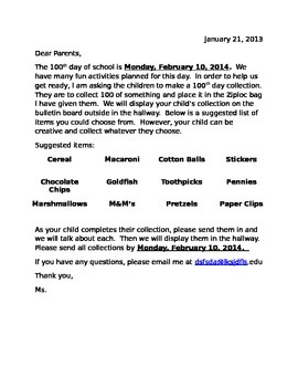 100th day of school Parent Letter *EDITABLE*
