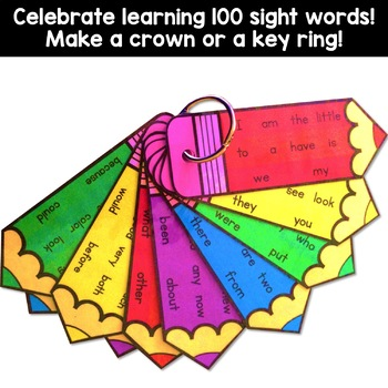 100th day of school - Sight Word Crowns and Word Key Rings EDITABLE