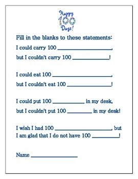 100th day of school activities and worksheets