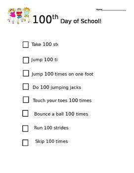 100th day of school checklist