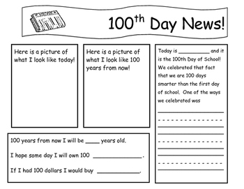 100th day of school - newsletter - writing - Print ready
