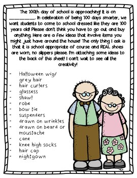 100th day of school note