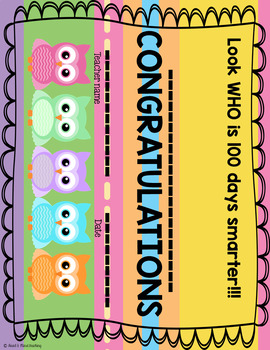 100th Day of School Owl Themed Packet; 100 days workbook