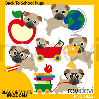 100th day of school pugs clip art bundle