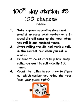 100th day of school stations kit